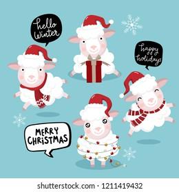 Cute sheep wear Christmas hat vector. Animal wildlife holiday cartoon character set.