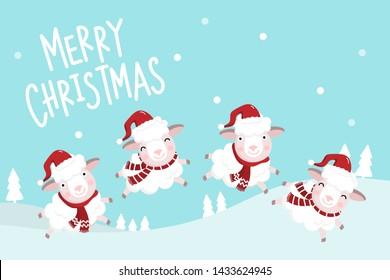 Cute sheep wear Santa Claus hat vector. Merry Christmas and happy new year greeting card.  Animal wildlife holiday cartoon character set.