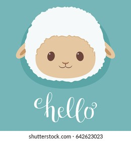 "Cute sheep/lamb head. Hand writing ""Hello"". Vector illustration"