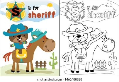 Cute sheriff cartoon on funny horse, coloring book or page
