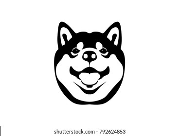 Cute Shiba Dog and His Smile in Black & White