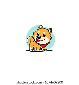 Cute shiba inu cartoon with red scarf icon, logo design, vector illustration