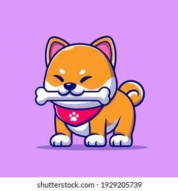 Cute Shiba Inu Dog Bite Bone Cartoon Vector Icon Illustration. Animal Nature Icon Concept Isolated Premium Vector. Flat Cartoon Style