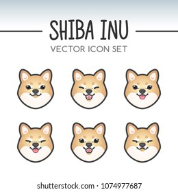 Cute shiba inu dog breed vector icon sticker set inspired by kawaii Japanese anime style. Shiba-inu puppy face showing various emotions. Emoticon, emoji or costume mask template. Fixed line weight.