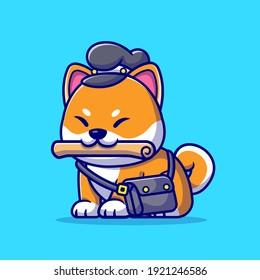 Cute Shiba Inu Dog Courier Newspaper Cartoon Vector Icon Illustration. Animal Profession Icon Concept Isolated Premium Vector. Flat Cartoon Style
