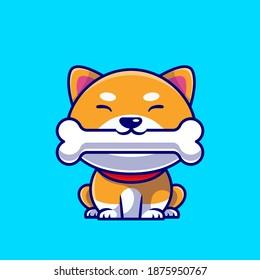 Cute Shiba Inu Dog Eating Bone Cartoon Vector Icon Illustration. Animal Nature Icon Concept Isolated Premium Vector. Flat Cartoon Style