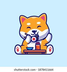 Cute Shiba Inu Dog Eating Sushi Cartoon Vector Icon Illustration. Animal Food Icon Concept Isolated Premium Vector. Flat Cartoon Style