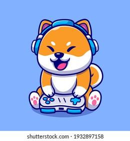 Cute Shiba Inu Dog Gaming Cartoon Vector Icon Illustration. Animal Technology Icon Concept Isolated Premium Vector. Flat Cartoon Style