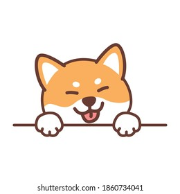 Cute shiba inu dog paws up over wall, vector illustration