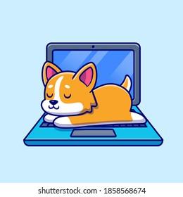 Cute Shiba Inu Dog Sleeping On Laptop Cartoon Vector Icon Illustration. Animal Technology Icon Concept Isolated Premium Vector. Flat Cartoon Style