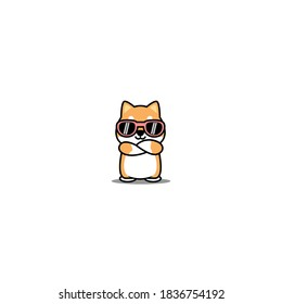 Cute shiba inu dog with sunglasses crossing arms cartoon, vector illustration