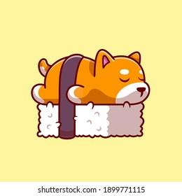 Cute Shiba Inu Dog Sushi Cartoon Vector Icon Illustration. Animal Food Icon Concept Isolated Premium Vector. Flat Cartoon Style
