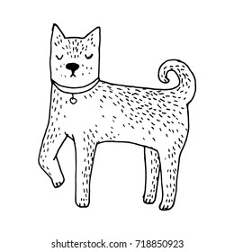 Cute Shiba Inu dog - vector hand drawn illustration. Kawaii japanese puppy sketch