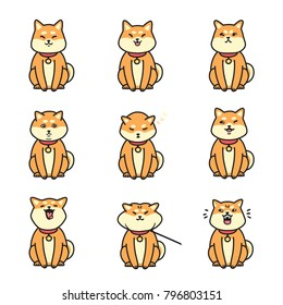 Cute shiba inu emotions stickers vector set.