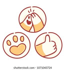 Cute Shiba Inu paws: high five, thumb up, like sign. Vector hand drawn style, cartoon illustrations. As logo, mascot, sticker, emoji, emoticon