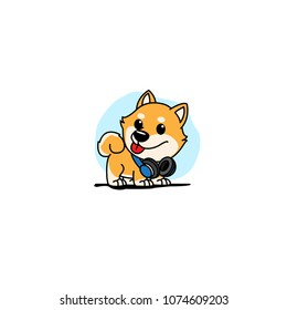 Cute shiba inu puppy with blue headphones on neck  icon, logo design, vector illustration
