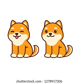 Cute shiba Inu puppy sitting, sticking out tongue. Happy cartoon dog vector illustration, simple kawaii style drawing.