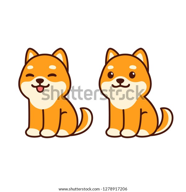 Cute Shiba Inu Puppy Sitting Sticking Stock Vector Royalty Free