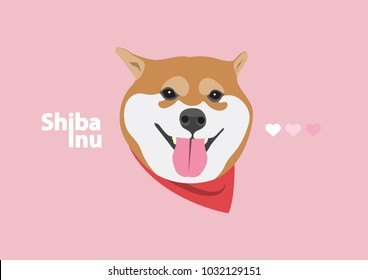 Cute Shiba Inu with Red Scarf