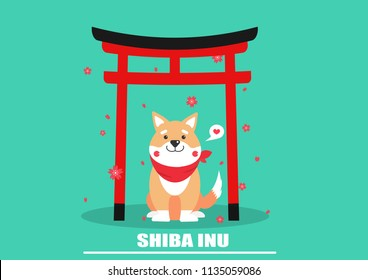 cute shiba inu sitting in torii gate cartoon vector.