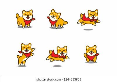 Cute shiba inu smiling, vector illustration