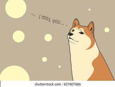 Cute Shiba Inu Thinking about Someone