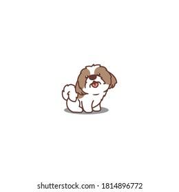 Cute shih tzu dog sitting and smiling cartoon icon, vector illustration