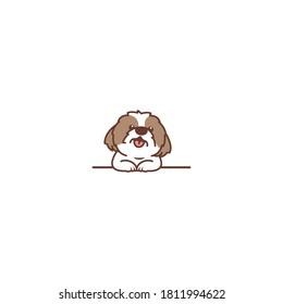 Cute shih tzu dog smiling over wall cartoon, vector illustration