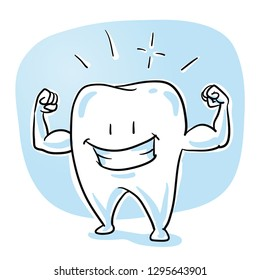 Cute shiny, healthy cartoon tooth showing his strong arms. Healthy teeth concept. Hand drawn cartoon sketch vector illustration, whiteboard marker style coloring.