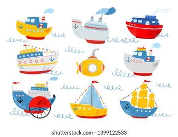 Cute ship, submarine, sailboat, motor ship, liner, sea wave. Kids nautical hand drawn vector illustration of water transport. Cartoon marine icons set. Childish background. Isolated white background.