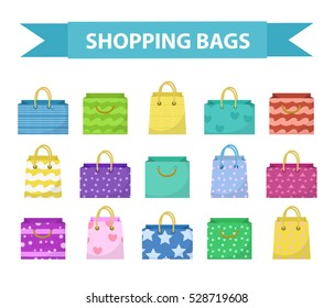 Cute shopping bag set. Colorful shopping bags with different pattern collection. Flat style. Paper bags isolated on a white background. Gift package. Vector Illustration