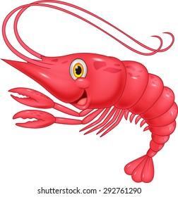 Cute shrimp cartoon illustration