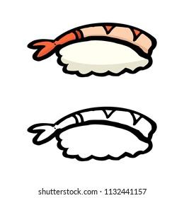 cute shrimp sushi for japanese restaurant cartoon object, vector doodle art