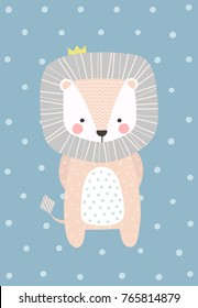 Cute and shy baby lion. Vector illustration in Scandinavian style. Funny, cute poster.