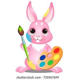 Cute shy little pink bunny is draws with a brush watercolor paints with palette isolated on white background. Vector cartoon close-up illustration.