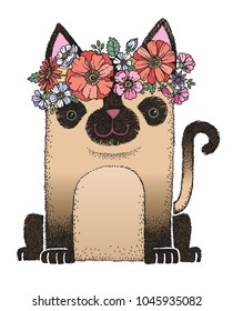 A cute siamese cat wearing a flower crown. Cute hand drawn vector illustration.
