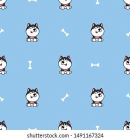 Cute siberian husky dog cartoon with bone seamless pattern, vector illustration