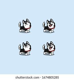 Cute siberian husky dog cartoon set, vector illustration