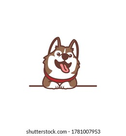 Cute siberian husky dog smiling over wall cartoon, vector illustration