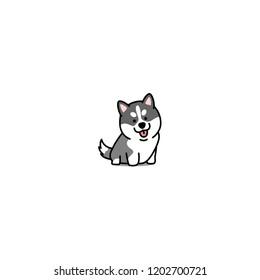Cute siberian husky puppy cartoon icon, vector illustration