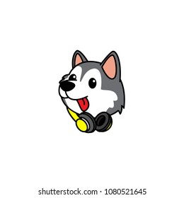 Cute siberian husky puppy with headphones on neck  icon, dog head logo design, vector illustration