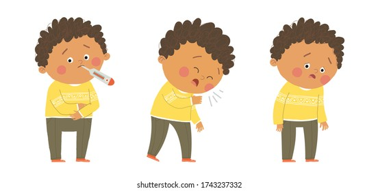 Cute sick african american boy. Flu symptoms fever, cough, tiredness. Cartoon vector hand drawn eps 10 illustration isolated on white background in a flat style.
