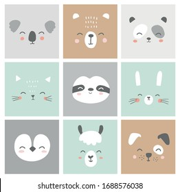 Cute simple animal faces portraits - hare, bear, sloth, cat, koala, alpaca, llama, panda, penguin, dog. Designs for baby clothes. Hand drawn characters. Vector illustration.