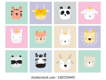 Cute simple animal portraits - hare, tiger, bear, fox, unicorn, panda, giraffe, unicorn, zebra, raccoon, sheep. Great for designing baby clothes. Cute animal in the pocket