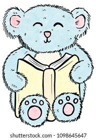 Cute Simple Cartoon Teddy Bear Reading a Book and Learning