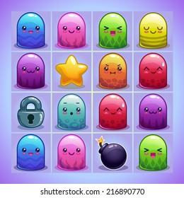 Cute simple characters and elements for game on the blue game board
