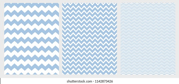 Cute Simple Chevron Vector Pattern Set. 3 Various Size of Chevron. Blue Zig Zags Isolated on a White Background. Blue and White Simple Geometric Seamless Pattern.