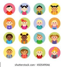 Cute and simple flat cartoon style children avatars