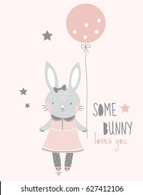 """Cute simple gray smiling stylish girl bunny in a pink dress with lace, pantyhose with polka dots and with a bow on her head  is holding a pink balloon, text """"some bunny loves you"""", vector illustration"""