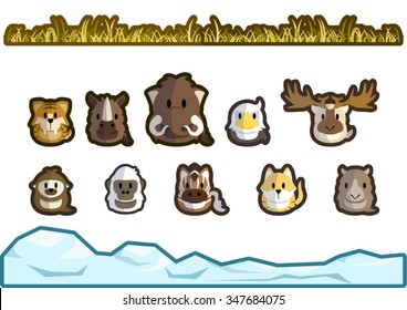 Cute and simple ice age animals illustration. The animals are sabre-toothed tiger, woolly rhinoceros, woolly mammoth, terror bird, Ireland elk, giant ground sloth, quagga, Thylacine, and Diprotodon.